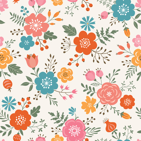 Seamless  decorative colorful flowers pattern on light colored background.