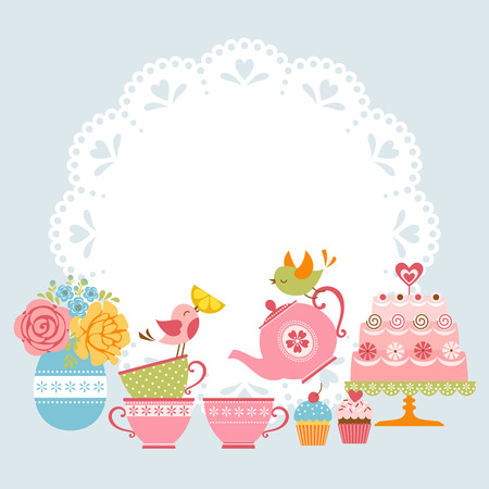 Ilustración de Tea party invitation with cute birds and place for your text. - Imagen libre de derechos