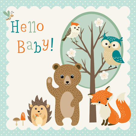 Ilustración de Baby shower design with cute woodland animals. - Imagen libre de derechos