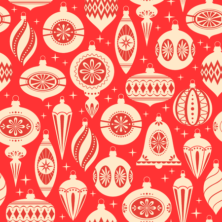 Red and gold Christmas seamless pattern