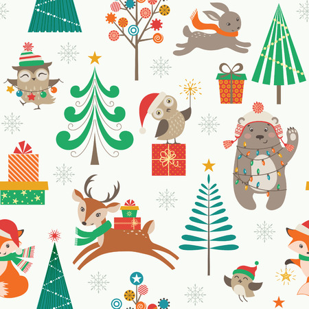 Ilustración de Cute Christmas pattern with woodland animals, Christmas trees and gifts - Imagen libre de derechos