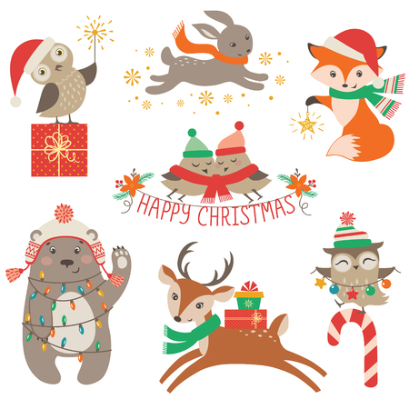 Ilustración de Set of cute Christmas design elements with woodland animals - Imagen libre de derechos