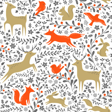 Ilustración de Christmas floral woodland animals seamless pattern on white background - Imagen libre de derechos