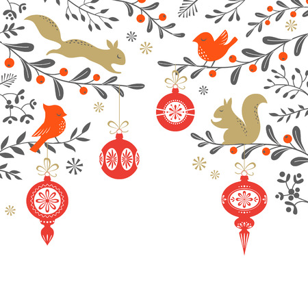 Illustration pour Christmas floral background with birds, squirrel, ornaments and place for your text. Vector is cropped with Clipping Mask. - image libre de droit