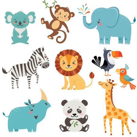 Illustration pour Set of cute animals isolated on white background - image libre de droit