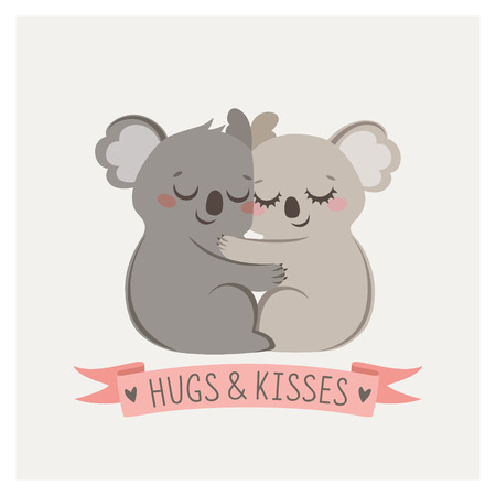 Cute card with loving couple of koalas