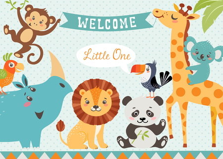 Ilustración de Baby shower design with cute jungle animals. Vector is cropped with Clipping Mask. - Imagen libre de derechos