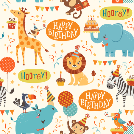 Seamless birthday pattern with cute jungle animals