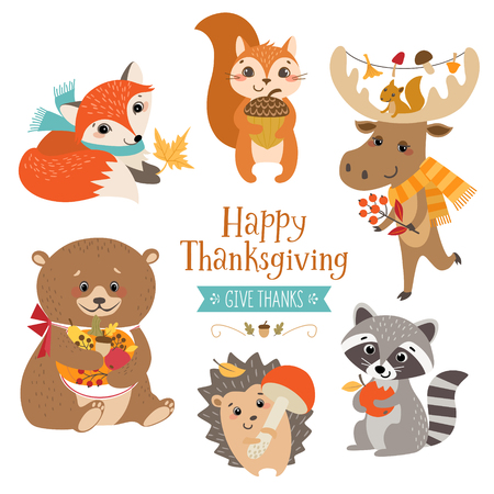 Cute forest animals for Thanksgiving design.