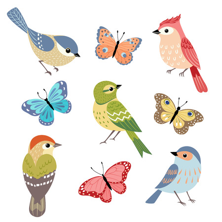 Illustration pour Set of colorful birds and butterflies isolated on white background. - image libre de droit