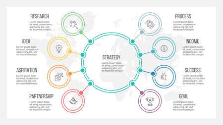 Illustration pour Outline infographic. Organization chart with 8 options. Vector template. - image libre de droit