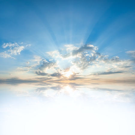 Photo pour Blue sky with clouds and sun reflection in water with place for your text - image libre de droit