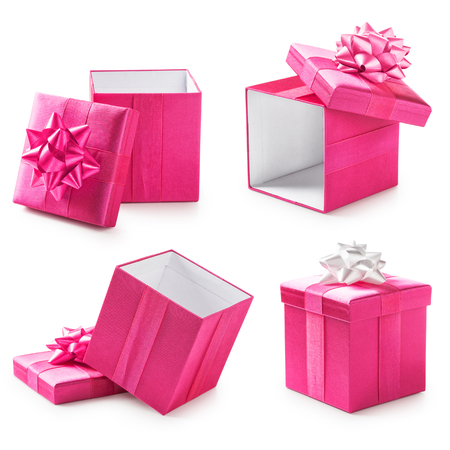 Photo for Pink gift boxes with ribbon bow collection. Holiday present. Objects isolated on white background - Royalty Free Image
