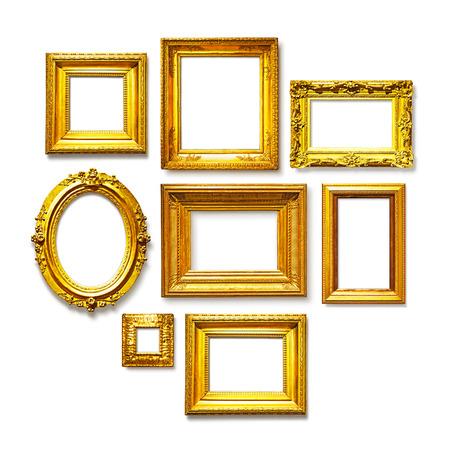 Photo pour Set of antique golden frames on white background. Art gallery - image libre de droit
