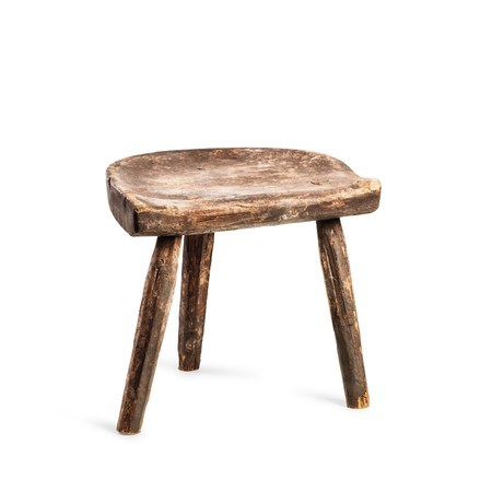 Photo pour Vintage stool isolated on white background. Antique three legs chair. Single object with clipping path - image libre de droit