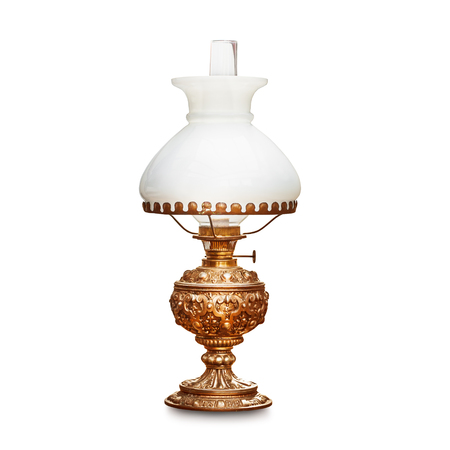 Photo for Vintage table lamp with white lampshade isolated on white background. Antique oil lamp. Single object with clipping path  - Royalty Free Image