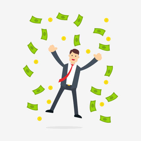 Illustration pour A Businessman who is very happy because he gets a lot of profit - image libre de droit