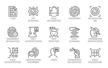 Ilustración de Line icons of identity biometric verification sign. 15 web label of authentication technology in mobile phones, smartphones and other devices. Vector logo or button isolated on white background - Imagen libre de derechos