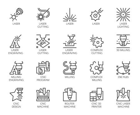 Ilustración de Set of 20 line icons in series of laser cutting. Computer numerical controlled printer, 3D milling machine and other thematic symbols. Stroke mono contour pictograms isolated. Vector outline labels - Imagen libre de derechos