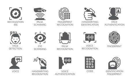 Ilustración de Set of 15 flat icons - biometric authorization, identification and verification symbols. Vector illustration. - Imagen libre de derechos