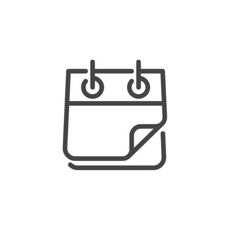 Illustration pour Tear-off Calendar Icon. Blank Tear Off Form Line Label. Rolled Notebook Outline Pictograph. Time Management Note. Calender Button. Vector Illustration Isolated for Web and App in Linear Style - image libre de droit