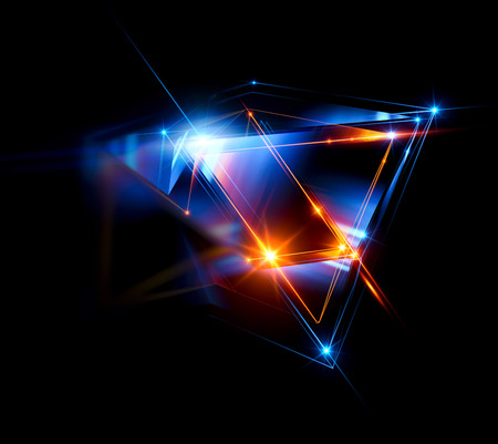 Photo pour 3d abstract background with geometric. Concept new technology and dynamic motion. Digital data visualization.  Diamond prism. Polygonal crystals. Bright figure in starry cosmos. Glowing triangles - image libre de droit