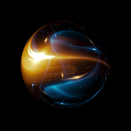 Foto de Abstract ring background. Glowing spiral. The energy flow tunnel. shine round frame with light circles light effect.  glowing cover. Space for message. Light sphere. Atom power. - Imagen libre de derechos