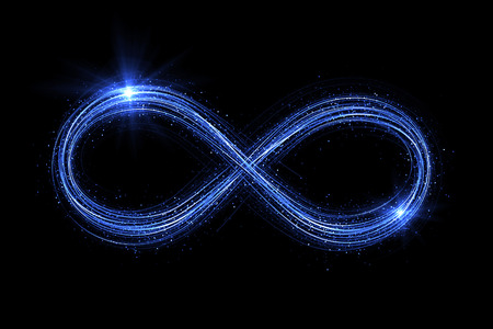 Photo for Lighting 3d infinity symbol. Beautiful glowing signs. Sparkling rings. Swirl icon on black background. Luminous trail effect. Colorful isolated sparkling loop. - Royalty Free Image