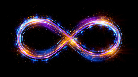 Foto per Lighting 3d infinity symbol. Beautiful glowing signs. Sparkling rings. Swirl icon on black background. Luminous trail effect. Colorful isolated sparkling loop. - Immagine Royalty Free