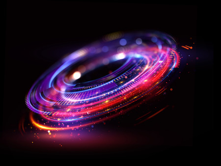 Foto de Abstract background. luminous swirl. Elegant glowing circle. Bright spiral. Glow ribbon. Empty space.  Sparkling particle. Space tunnel. Glossy orbit. Colorful ellipse. Glint galaxy. Oval stage - Imagen libre de derechos