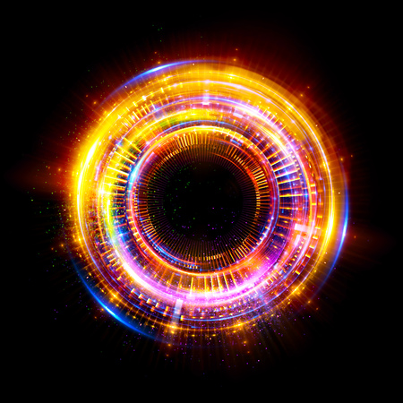 Foto per Abstract background. luminous swirling. Elegant glowing circle.  Sparking particle. Space tunnel. Glossy jellyfish. Colorful ellipse. Glint sphere - Immagine Royalty Free