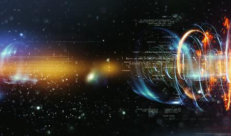 Foto de Abstract tech background. Floating Numbers HUD Background. Matrix particles grid virtual reality. Smart build. Grid core. Hardware quantum form. Future technology - Imagen libre de derechos
