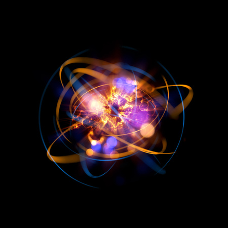 Photo for 3D Atom icon. Luminous nuclear model on dark background. Glowing energy balls. Molecule structure. Trace atoms and electrons. Physics concept. Microscopic forms. Nuclear reaction element. Supernova - Royalty Free Image