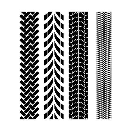 Ilustración de Tire track brush seamless border vector. - Imagen libre de derechos