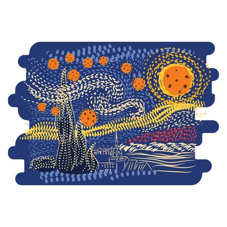 Ilustración de Starry night Van Gogh art style vector. - Imagen libre de derechos
