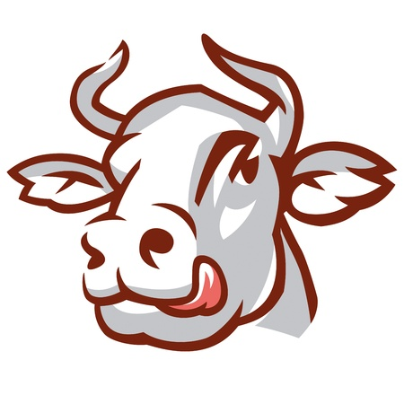 Head of Licking Cow. Stylized Drawing.