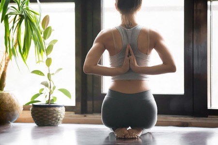 Photo pour Young woman practicing yoga with namaste behind the back, sitting in seiza exercise, vajrasana pose, working out, wearing sportswear, grey pants, bra, indoor, home interior background, rear view - image libre de droit
