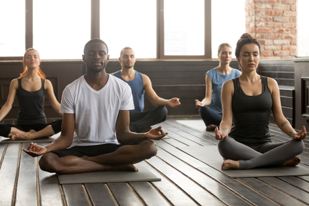 Photo pour Group of young sporty afro american and caucasian people practicing yoga lesson, sitting in Sukhasana exercise, Easy Seat pose with mudra gesture, working out, students training in sport club, studio - image libre de droit