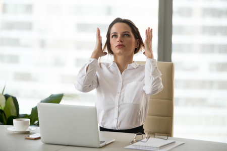Foto de Angry mad businesswoman in panic feels stressed at work, frustrated female office employee annoyed by business problems, tired of overwork, woman having hormonal imbalance, nervous breakdown concept - Imagen libre de derechos