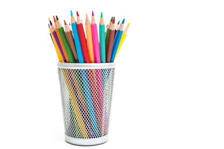 Photo pour Colored pencils in a pencil case on white background - image libre de droit