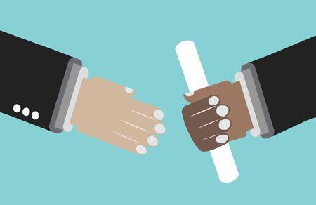 Illustration pour Giving a document sign on the blue background. Partnership emblem - image libre de droit
