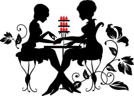 Illustration pour Two silhouettes of woman in manicure process. Stylish vector illustration. Luxury design - image libre de droit