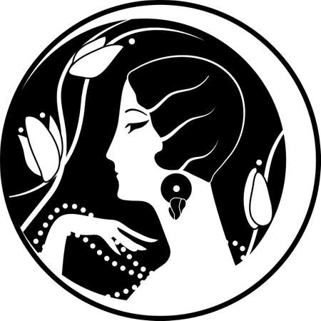 Illustration for Graphic silhouette of a art deco woman - Royalty Free Image