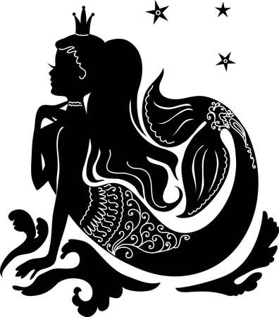 Ilustración de Silhouette mermaid sitting on the waves. Isolated figure of girl from fairy tale - Imagen libre de derechos