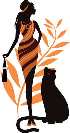 Illustration for Beautiful girl with a panther. Fashion woman concept - Royalty Free Image
