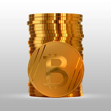 Photo pour A stack of gold coins. Cryptocurrency bitcoin. Electronic money. 3d illustration. - image libre de droit