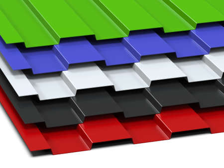 Photo pour Steel profiled multi-colored sheets stacked in a stack. Sale of steel assortment. 3D Rendering - image libre de droit