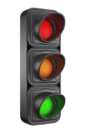 Traffic lights 3d  Movement road control  Isolated on white background