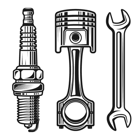 Illustration pour Car or motorcycle repair parts set of vector detailed objects and design elements in monochrome style isolated on white background - image libre de droit