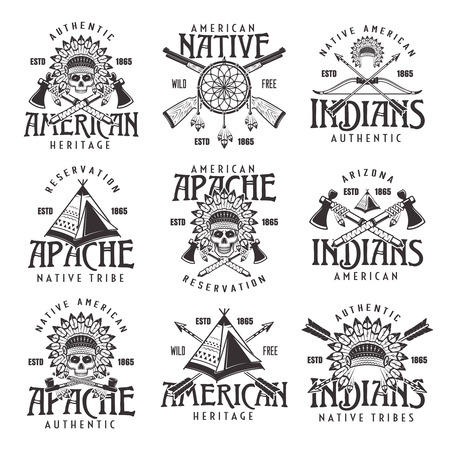 Illustration for Native american indians, apache tribe set of vector vintage emblems, labels, badges and logos in monochrome style isolated on white background - Royalty Free Image